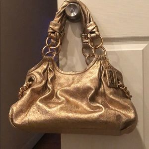 GOLD LEATHER COACH BAG
